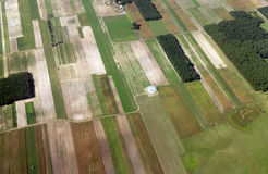 Agriculture fields. Aerial shot of agriculture fields and forests seen from above Stock Photo
