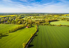 Agriculture Fields Aerial View HDR. HDR shot of typical agriculture fields in northern Germany Royalty Free Stock Photos