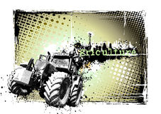 Agriculture frame. Illustration of the tractor on the dirty background stock illustration