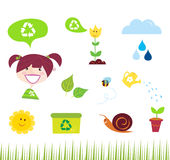 Agriculture, garden and nature icons Stock Images