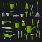 Agriculture and gardening tools flat icons Royalty Free Stock Images