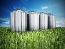 Agriculture grain silos on grass under blue sky. 3D illustration.  Royalty Free Stock Photography