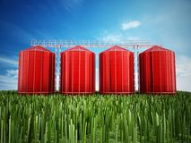 Agriculture grain silos on grass under blue sky. 3D illustration.  Stock Photography