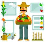 Agriculture graphics. Farmer with vegetables and a set of related icons Stock Photo