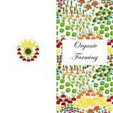 Agriculture greeting or business card. Fields background. Cartoon farming landscape. Agriculture business or greeting card. Fields Seamless Pattern. Different Stock Photos