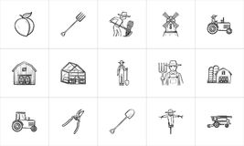 Agriculture hand drawn sketch icon set. Agriculture sketch icon set for web, mobile and infographics. Hand drawn Agriculture vector icon set isolated on white Royalty Free Stock Images