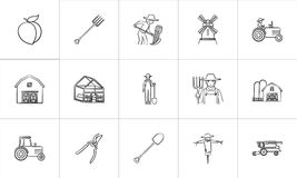 Agriculture hand drawn sketch icon set. Agriculture sketch icon set for web, mobile and infographics. Hand drawn agriculture vector icon set isolated on white Stock Photos