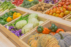 Agriculture harvested products on wooden box Royalty Free Stock Image