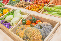 Agriculture harvested products on wooden box Royalty Free Stock Photography