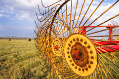 Agriculture hay rake machine for bales. In-line metal wheels on a mechanical star-wheel hay rake used to make windrows from cut grass for bales on a modern farm Royalty Free Stock Images