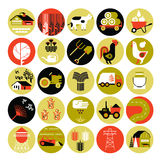 Agriculture icon set. Set of 25 icons with agriculture and farming silhouettes Royalty Free Stock Photography