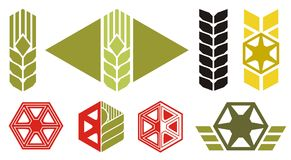 Agriculture icons. Set of icons on agriculture topics, ear of wheat, parts of harvesting machine, vector illustration Stock Photos