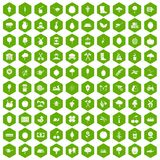 100 agriculture icons hexagon green. 100 agriculture icons set in green hexagon isolated vector illustration Royalty Free Stock Image