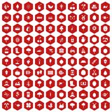 100 agriculture icons hexagon red. 100 agriculture icons set in red hexagon isolated vector illustration Royalty Free Stock Photo