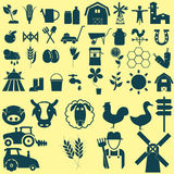 Agriculture icons set. Black color Royalty Free Stock Image