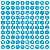 100 agriculture icons set blue. 100 agriculture icons set in blue hexagon isolated vector illustration Stock Photography