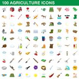 100 agriculture icons set, cartoon style. 100 agriculture icons set in cartoon style for any design illustration stock illustration