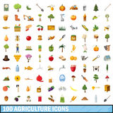 100 agriculture icons set, cartoon style Royalty Free Stock Photography