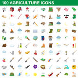 100 agriculture icons set, cartoon style. 100 agriculture icons set in cartoon style for any design vector illustration Stock Image