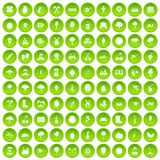 100 agriculture icons set green circle. Isolated on white background vector illustration royalty free illustration