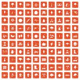 100 agriculture icons set grunge orange. 100 agriculture icons set in grunge style orange color isolated on white background vector illustration Royalty Free Stock Photo