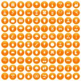 100 agriculture icons set orange. 100 agriculture icons set in orange circle isolated on white vector illustration Royalty Free Stock Images