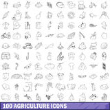 100 agriculture icons set, outline style. 100 agriculture icons set in outline style for any design vector illustration Stock Image