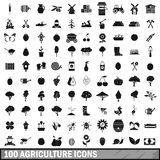 100 agriculture icons set in simple style. For any design vector illustration Stock Photo
