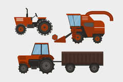 Agriculture industrial farm equipment machinery tractor combine and excavator rural machinery corn car harvesting wheel Stock Images