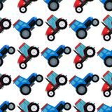 Agriculture industrial farm equipment seamless pattern background machinery tractors combines and excavators vector. Illustration. Combine harvester farming Stock Photos