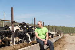 Agriculture industry, farming, people and animal husbandry Stock Photos