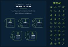 Agriculture infographic template, elements, icons. Agriculture options infographic template, elements and icons. Infograph includes options, line icon set with Stock Photography