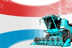 Agriculture innovation concept, blue advanced farm combine harvester on Luxembourg flag - digital industrial 3D illustration. Digital industrial 3D illustration royalty free illustration