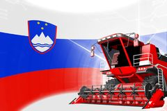 Agriculture innovation concept, red advanced farm combine harvester on Slovenia flag - digital industrial 3D illustration. Digital industrial 3D illustration of vector illustration