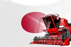 Agriculture innovation concept, red advanced rural combine harvester on Japan flag - digital industrial 3D illustration. Digital industrial 3D illustration of royalty free illustration
