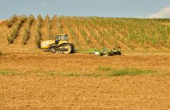 Agriculture in Italy with a tractor on the fields Stock Image