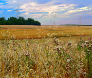 Agriculture landscape. With wind turbine by Beckingen, Saarland - Germany Royalty Free Stock Images