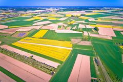 Agriculture layers of Podravina region aerial view. Northern Croatia royalty free stock photography