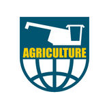 Agriculture logo. harvest emblem. combine harvester and Earth. Royalty Free Stock Photos