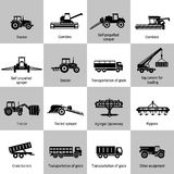 Agriculture Machinery Equipments. Vector black agricultural transport icons set on white. Agricultural Machinery collection - vector. Illustration of growing and Royalty Free Stock Image
