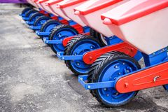 Agriculture machinery. Working parts of modern pneumatic seeder. Copy space stock photos