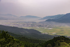 Agriculture and Mount Aso Volcano in Kumamoto, Japan Stock Photography