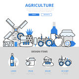 Agriculture natural food farm concept flat line art vector icons Stock Photography