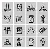 Agriculture noire de vecteur et icônes de ferme réglées illustration libre de droits