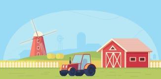 Agriculture Paysage rural de ferme avec le moulin à vent, le tracteur et la meule de foin rouges illustration de vecteur