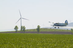 Agriculture plane. Work with chemicals Stock Photos