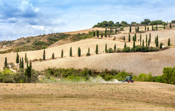 Agriculture plowing tractor with a cultivator plow the field after the harvest. Winding road with cypresses on the sidelines walking over the hills and meadows royalty free stock photos