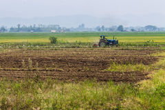 Agriculture plowing tractor on wheat cereal fields Royalty Free Stock Photos