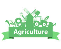 Agriculture on the ribbon. Tractor, mill and cow. Vector illustration Stock Photo