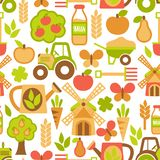 Agriculture seamless pattern. Farming harvesting and agriculture seamless pattern of mill tractor wheelbarrow and spade vector illustration Stock Image